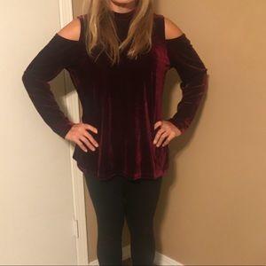 Wine velvet like cold shoulder top